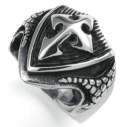 Daesar Stainless Steel Rings Mens Bands Cross Rings Shield Shield Black Silver Rings for Men Size:8