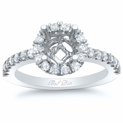 Bel Dia 14k White Gold Round Diamond Halo Engagement