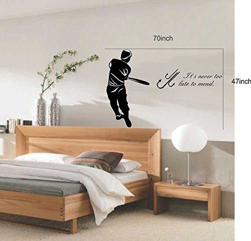 large-easy-instant-decoration-wall-sticker-mural-sport-baseball-its-never-too-late-to-mend