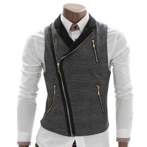 Doublju Mens Checks Zip up Vest Waistcoat (AV3)