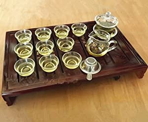 Sado Glass Gaiwan Gongfu Tea Set Chinese Tea Cup(set of 13 glass) by Gongfu Sado