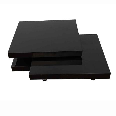 CRAVOG Couchtisch Hochglanz Verstellbar Drehbare Tischplatte Beistelltisch Modern Design 80 x 80 x 30,5 cm (Schwarz)