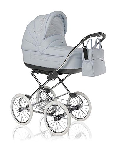 12-teiliges-Klassisches-Qualitts-Kinderwagenset-2-in-1-Roan-MARITA-PRESTIGE-Kinderwagen-Buggy-Sonnenschirm-Chromgestell-Mega-Zubehr-in-Farbe-P-163-HELLBLAUES-KUNSTLEDER