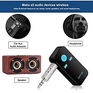 Bluetooth Receiver Wireless Car Audio Adapter, Hands-Free Audio Receiver & Mini 3.5mm Aux Audio Adapter Car Kits for Headphones/Speakers/Home Streaming Music Stereo Sound System TF/SD Card Supported (Color: Blue, Tamaño: Mini)