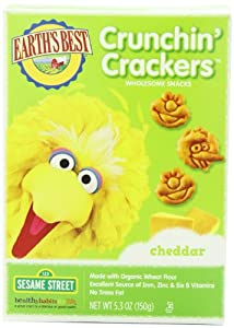 Earth's Best Organic Cheddar Crunchin' Crackers, 5.3 Ounce Boxes (Pack of 6)