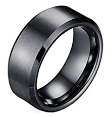 buy Mens Wedding Band Stainless Steel Black Simple Round 8Mm Size 8 By Aienid