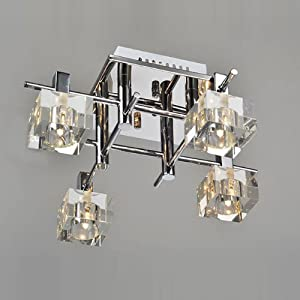 Modern Square Striated Crystal Living Room Ceiling Lamps Bedroom