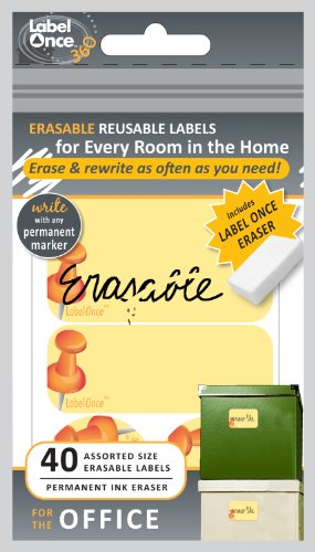 Jokari Label Once Office Erasable Labels Kit with 80 Labels and Eraser, 2-Pack