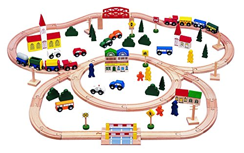 100-piece Triple-loop Wooden Train Set (Inc. 16 Trains and Cars!!) - 100% Compatible with All Major Brands Including Thomas Wooden Railway System - By Kids Destiny (Toy Trains For Kids compare prices)