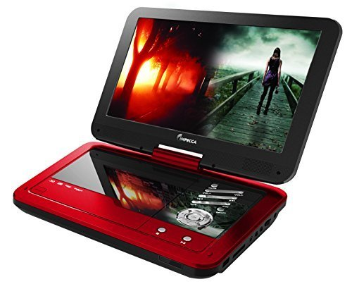 Impecca DVP1016 10.1 Inch Portable DVD Player, 6 Hour Rechargeable Battery, Swivel Screen, Red (Portable Dvd Player Bluetooth compare prices)