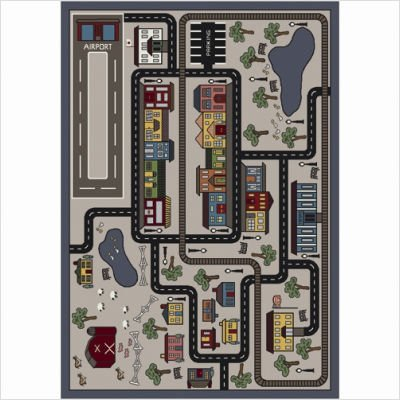 "Joy Carpets Kid Essentials Active Play & Juvenile Tiny Town Rug, Pewter, 7'8"" x 10'9"""