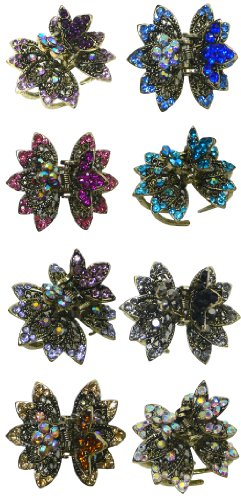 "Set of 8 Small Jeweled Jaw Clip, 1.5"" x 1.5"", 1 each of 8 colors LPW86440-3-8"