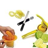 Kitchen Gems Professional Lemon Squeezer Citrus Juicer Utensil Set - Includes Zester Knife, Citrus Grater, Manual Hand Juicer, Citrus Juicer Press and Lemon Stretch Wraps