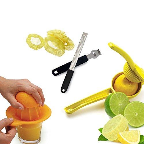 Kitchen Gems Professional Lemon Squeezer Citrus Juicer Utensil Set - Includes Zester Knife, Citrus Grater, Manual Hand Juicer, Citrus Juicer Press and Lemon Stretch Wraps