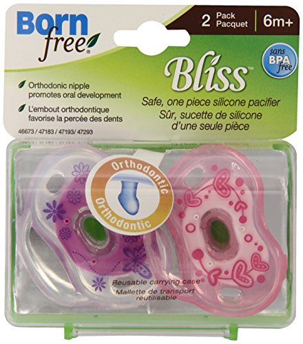 Born Free Bpa-Free Bliss Orthodontic Pacifier, Pink, 6M+ front-1005044
