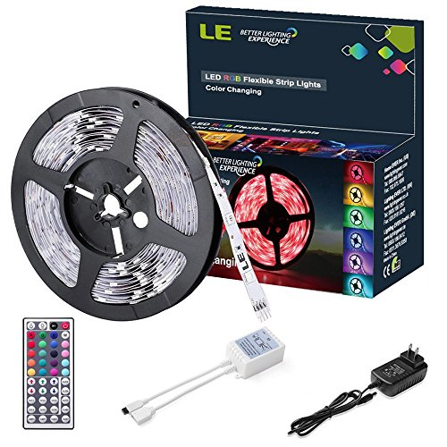 LE 12V Flexible RGB LED Strip Light Kit, Colour Changing, 150 Units 5050 LEDs, Non-Waterproof , Remote Controller and Power Adaptor Included, LED Tape, Pack of 16.4ft/5m (Led Strip Light Kit Car compare prices)