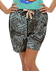 Clovia Chic Printed Shorts In Grey