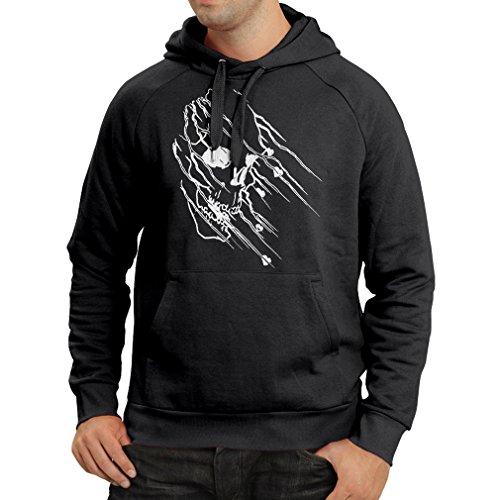 N4686H Felpa con cappuccio Art skull - vintage t shirts (XXX-Large Nero Multicolore)