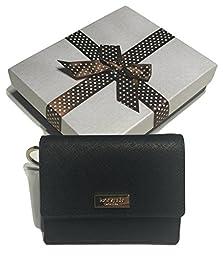 Kate Spade Newbury Lane Petty Black Saffiano Leather Clutch Wallet WLRU2190 with Bagity Gift Box