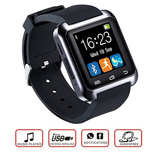 Teslasz U80 Bluetooth 4.0 Smart Wrist Wrap Watch Phone for Smartphones IOS Android Apple iphone 5/5C/5S/6/6 Puls (Black)