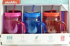 Aladdin 3 Classic Mason Jar Tumblers w Straws & Lids Hot Pink Blue Orange 20 Oz by Aladdin
