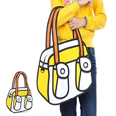 ETSYG Modern Unisex Lovely Comic Canvas Bag 2d Drawing 3d Jump From Cartoon Paper Bag Yellow Bag