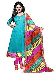 BanoRani Womens Sky Blue Color Dupion Silk Zari & Lace Work Semi Stitched Anarkali Salwar Suit with Lehariya Dupatta (Chudidar)