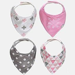 Ziggy Baby Bandana Bib Set, Pink/Grey, 2 Pack
