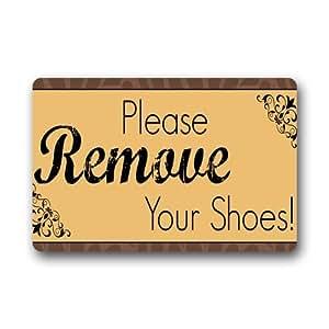 Please remove your shoes custom doormat 23 6 x15 7 non woven fabric top patio - Remove shoes doormat ...