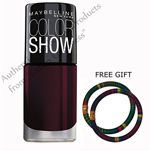 Maybelline Maroon Color Show Bright Sparks Nail Polish Pack Of 2 - With FREE GIFT (Pair of Multicolor Bangles) and FREE SHIPPING (Maybelline Quick Dry Nail Polish compare prices)