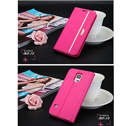 Pioneer Tech® Goatskin Pattern Leather Smart Flip Cover Protective Cases For Samsung Galaxy S5 I9600 -Xd (Rose)