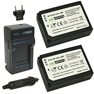 Wasabi Power Battery (2-Pack) and Charger for Samsung BP1030, BP1130, ED-BP1030 and Samsung NX200, NX210, NX300, NX1000