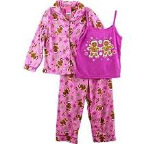 "J. Khaki ""Gingerbread Men"" Pink Girls 3 Piece Flannel Coat Pajamas Set (14/16)"