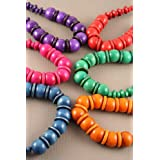 Purple Coloured Wooden Bead Necklace IN3346