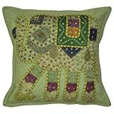 Lalhaveli Elegant Handmade Patchwork Cotton Pillow Cover 16 Inches 1 Pc