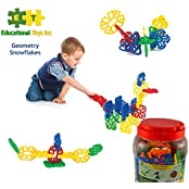 Educational Toys Geometry Snowflakes By ETI Toys For Boys And Girls 80 Piece Set For Making Endless Creations...