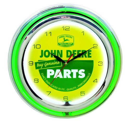 John Deere 15 Inch Double Neon Wall Clock - Genuine Parts Theme