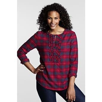 Lands 39 End Women 39 S Plus Size Long Sleeve Flannel Ruffle