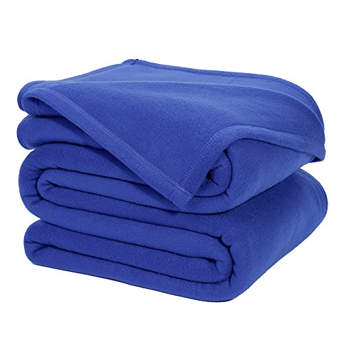 DOZZZ Queen Polar-Fleece Thermal Blanket Blue - Extra Soft Brush Fabric, Super Warm, Lightweight & Easy Care, Couch Throw Blanket 90 x 90 Inch