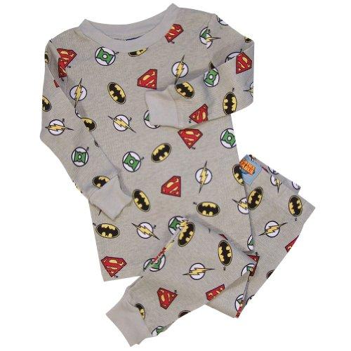Justice League Logo Thermal Young Boys Pajamas Set, Grey 3T