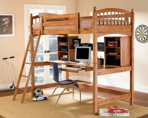 Warm Brown Finish Bunk Bed and Workstation