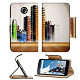 MSD Premium Motorola Google Nexus 6 Flip Pu Leather Wallet Case Picture of colorful city painted on white wall in bright light IMAGE 26741198