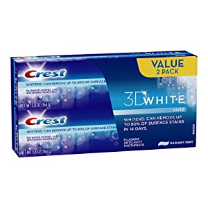 Crest 3d White Vivid Anticavity Teeth Whitening Radiant Mint Toothpaste 5.8oz, Twin Pack 11.6 Oz Total