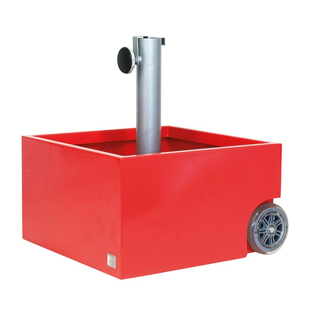 XXD 0-816 Schirmständer für Schirmstöcke Durchmesser 25-56 mm, Leergewicht 12 kg, Volumen 50 L, 45 x 45 x 26 / 50 cm, rot