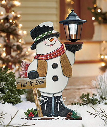 Outdoor Wooden Christmas Yard Decorations: Snowman Lamp Posts