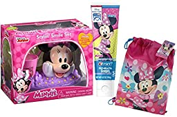 Disney Jr. Minnie Mouse Inspired 4pc Sparkling Smile Oral Hygiene Gift Set! Includes Toothbrush Holder, Toothbrush, Toothpaste & Rinse Cup! Plus Bonus Minnie Mouse Resuable Drawstring Tote Gift Bag!