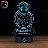 LE3D 3D Optical Illusion Desk Lamp/3D Optical Illusion Night Light, 7 Color LED 3D Lamp, Real Madrid Club de Futbol 3D LED For Kids and Adults, Real Madrid Football Light Up