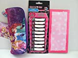 Bundle of 3 Items: Disney's Princess Pencil Case + Monster High Removable Adhesive Labels + Magnetic Notepads