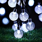 Solar Outdoor String Lights, easyDecor Ball 30 LED 8 Modes 21ft White Decorative Christmas Fairy Globe Light Strings for Party, Indoor Decor, Wedding Decorations, Patio, Garden, Holiday, Home, tree