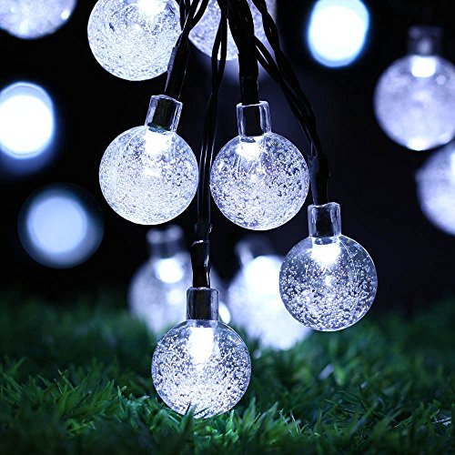 High Quality Outdoor String Lights : Solar Outdoor String Lights, easyDecor Ball 30 LED 8 Modes 21ft White Decorative Christmas Fairy ...